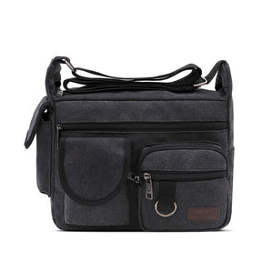 Canvas Messenger Bag for Men Vintage Water Resistant Waxed Crossbody Briefcase