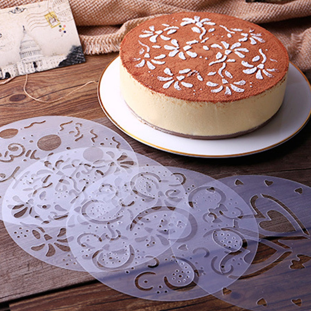 4Pcs/Set Plastic Pastry Stencils Flower Spray Birthday Cake Mold Decorating Bakery Tools