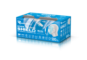 500 Roll pack of face shields in a convenient dispenser box