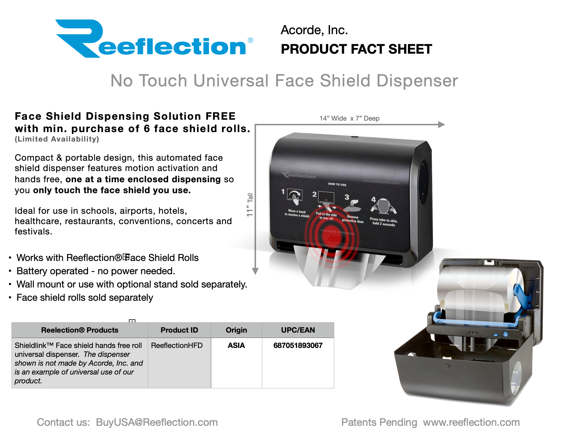 Face Shield Touchless Dispenser