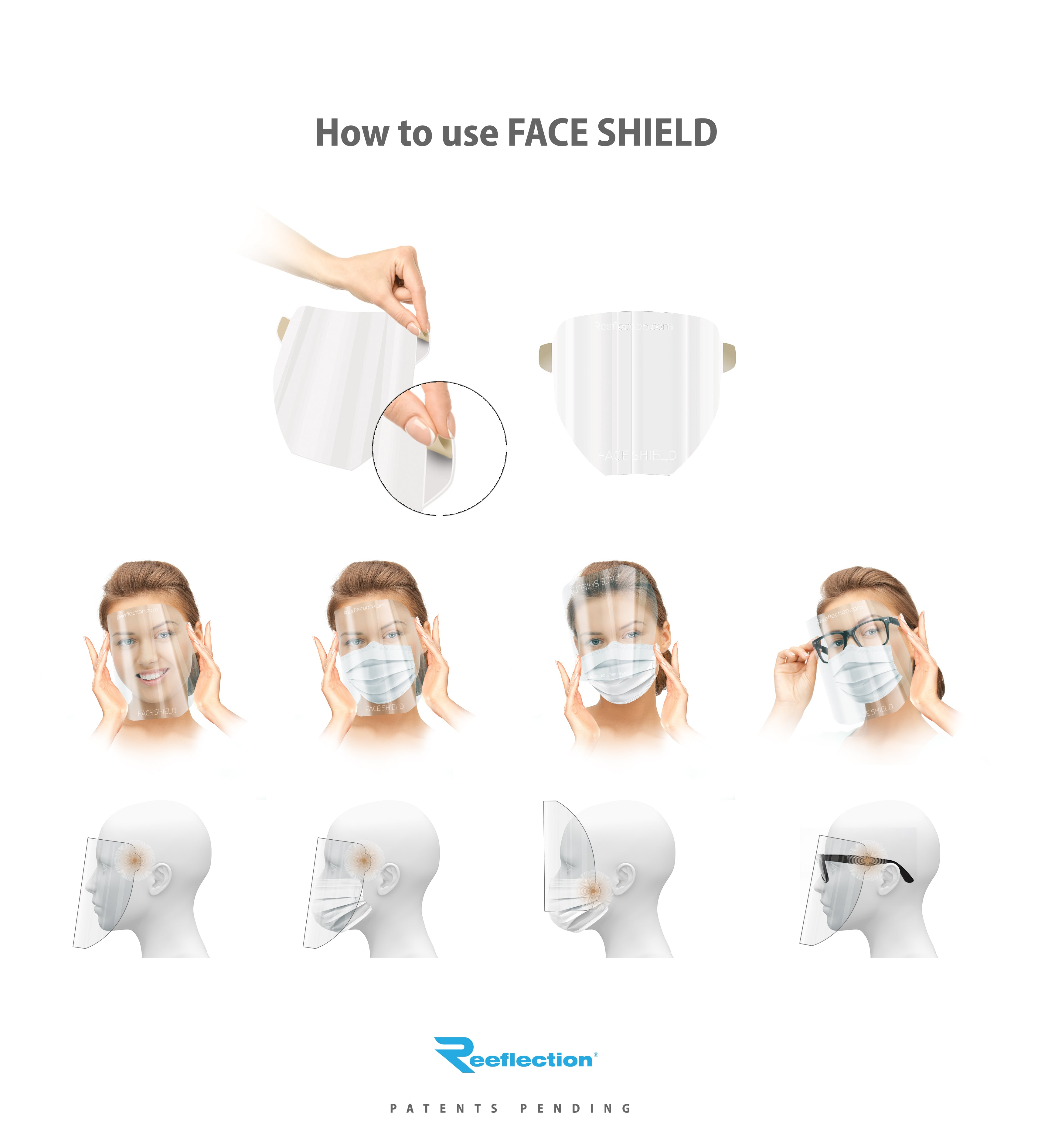 100 Roll pack of face shields in a convenient dispenser box