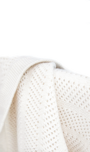 Cream Cashmere Baby Blanket Close Up