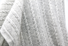 Load image into Gallery viewer, Grey Cashmere Knit Blanket Close Up