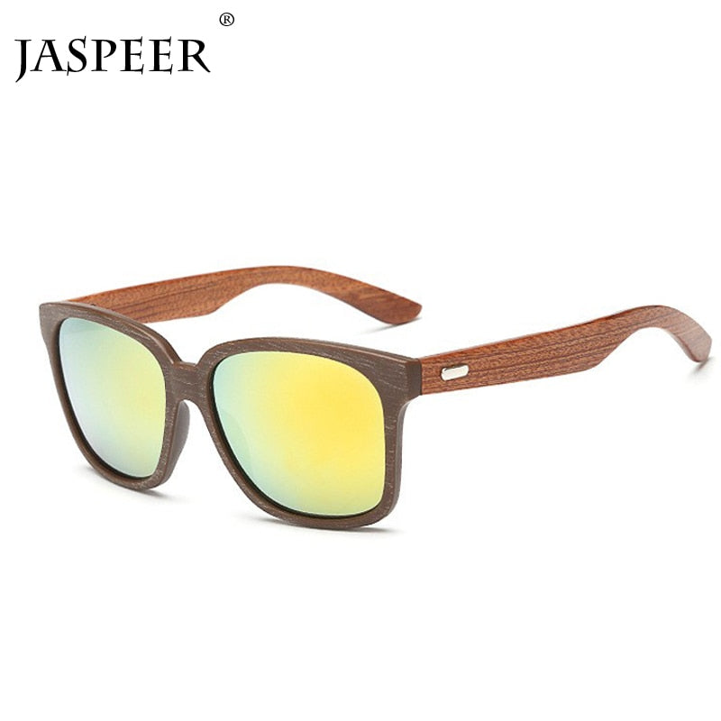 2019 Polarized Square Sunglasses Men Women Wood Frame Mirror Flat Lens Driving Sunglasses For Men UV400 Eyewear - Eshop