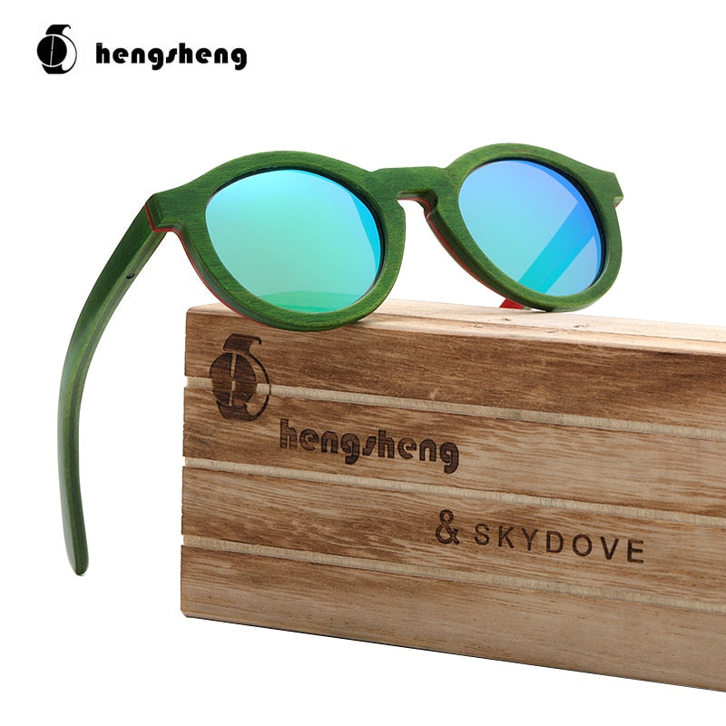 Round Kids Skateboard Wood Sunglasses Kids Sunglasses Girls Boys Polarized Sunglasses Women Oversized - Eshop