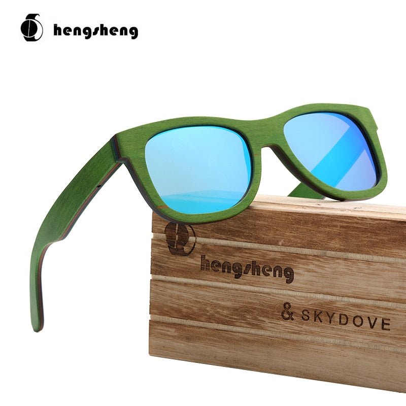 Rectangle Green Skateboard Wood Sunglasses Man Sunglasses Brand 2020 Sun Glasses Men Polarized