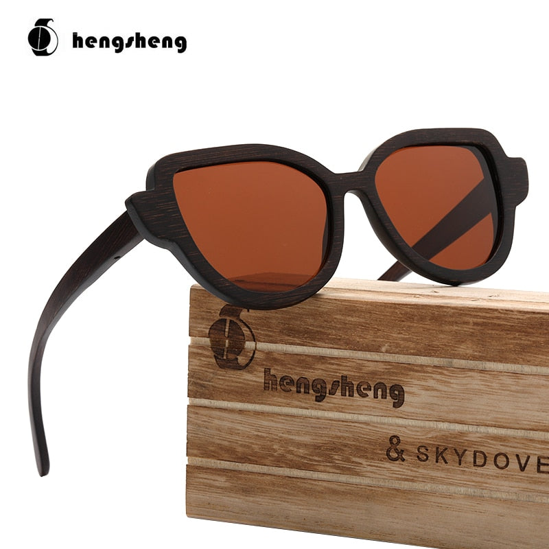Cat Eye Brown Wooden Bamboo Sunglasses Shades For Women Cateye Polarized  Sunglasses Women
