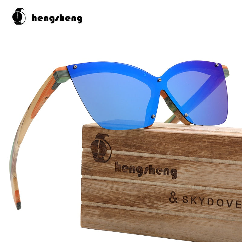 Cat Eye Color Wooden Bamboo Sunglasses Designer Sunglasses Women 2020  Sunglasses For Women