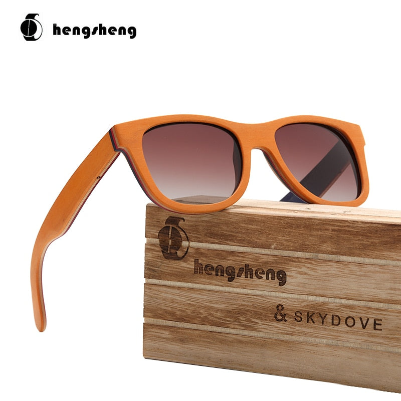 Pilot Orange Skateboard Wood Sunglasses Man Sunglasses Brand 2020 Driving Sunglasses Men Polarized