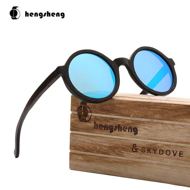 Round Black Wood Bamboo Sunglasses Woman Man Sunglasses Polarised Shades For Women Luxury