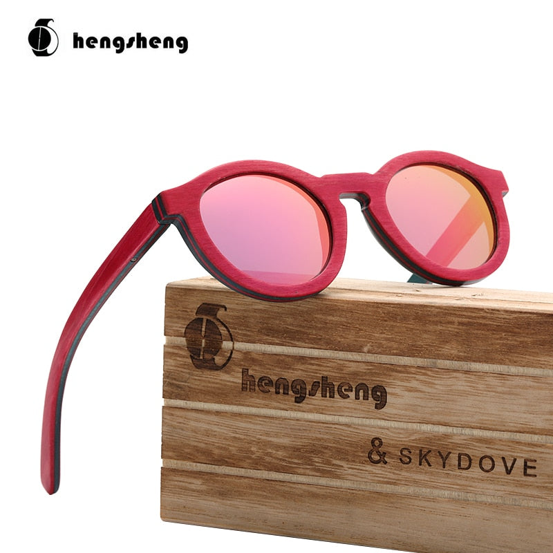 Round Kids Skateboard Wood Sunglasses Kids Sunglasses 2020 Fashion Sunglasses Women Luxury Brand