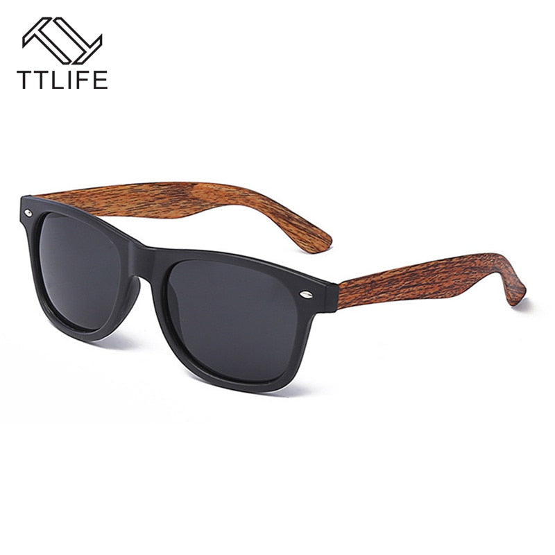 Brown Vintage Wood Grain Sunglasses Men Black Mirrored Reflective Lens Sun Glasses Female Glasses Goggles YJHH0236