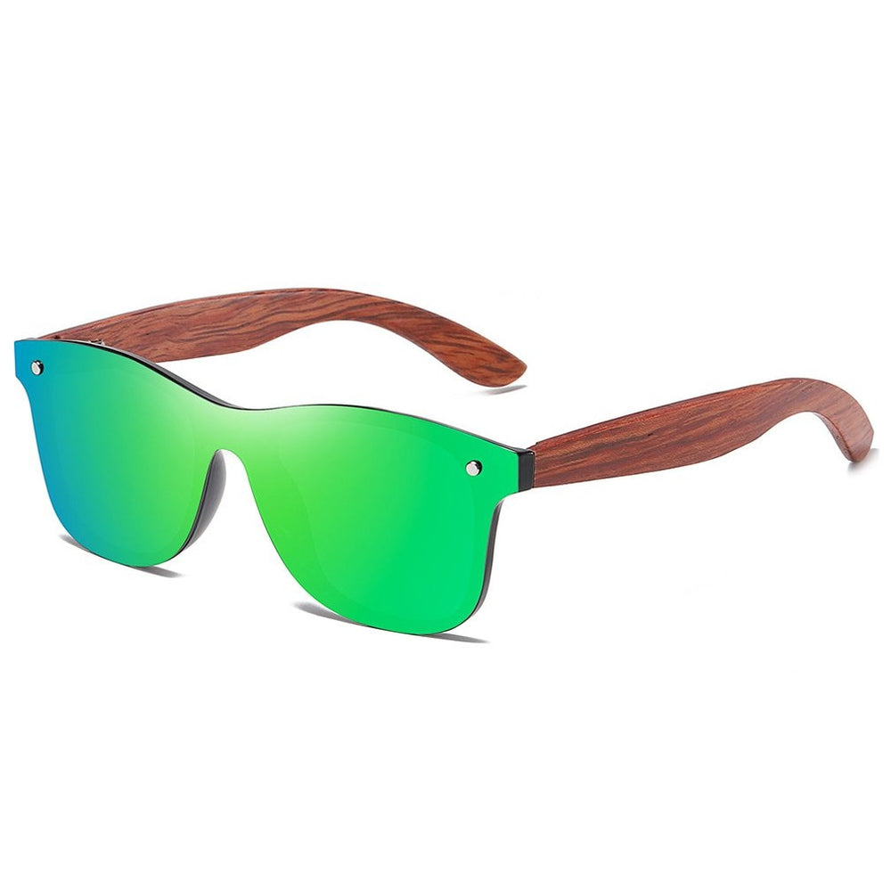 Bamboo wood polarized wind sueface sunglasses integrated mirror formula box Impact resistance sunglasses