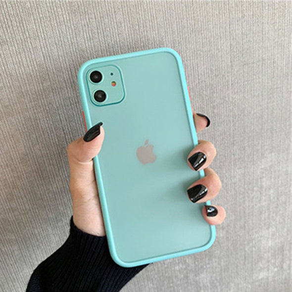 Hybrid Simple Matte Bumper Phone Case for iPhone (Multiple Options Available)