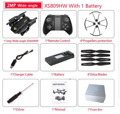 Visuo XS809HW Quadcopter Mini Foldable Selfie Drone with Wifi FPV 0.3MP/2MP Camera