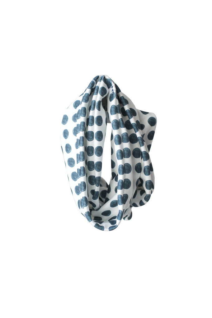 NAVY DOTS INFINITY SCARF