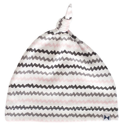 BLACK, GREY & PINK STRIPES KNOTTED HAT