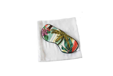 Bamboo silk pillowcase, tropical print eye mask , sleep mask, beauty pillow