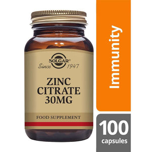 Solgar® Zinc Citrate 30 mg Vegetable Capsules - Pack of 100