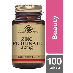 Solgar Zinc Picolinate 22 mg Tablets - Pack of 100