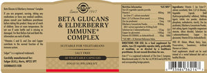 Solgar Beta Glucans & Elderberry Immune Complex Vegetable Capsules 60