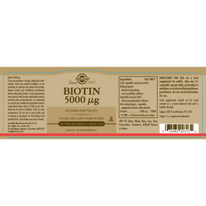 Solgar® Biotin 5000 µg Vegetable Capsules - Pack of 50