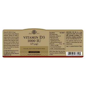 Solgar® Vitamin D3 1000 IU (25 µg) Softgels - Pack of 100