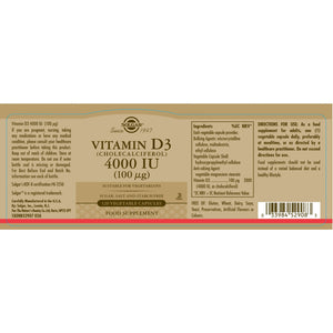 Solgar® Vitamin D3 4000 IU (100ug) Vegetable Capsules (120)