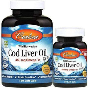 Wild Norwegian Cod Liver Oil Gems Carlson Labs 460 mg - 150 + 30 softgels
