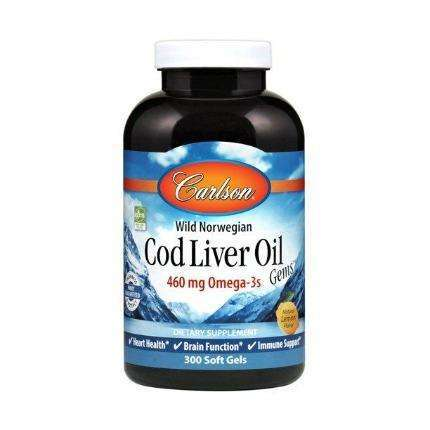 Wild Norwegian Cod Liver Oil Gems Carlson Labs 460 mg - 300 softgels