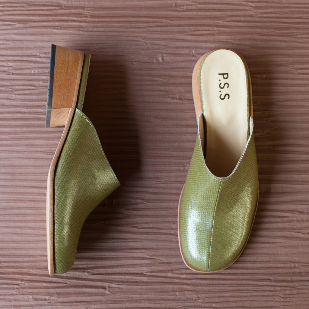 Post Sole Studio Lane Heel Olive Hi-Shine