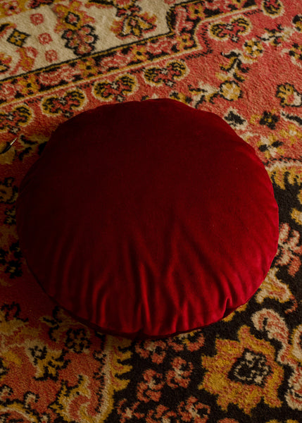 Klay Velvet Squab Cushion - Pomegranate Seed Red