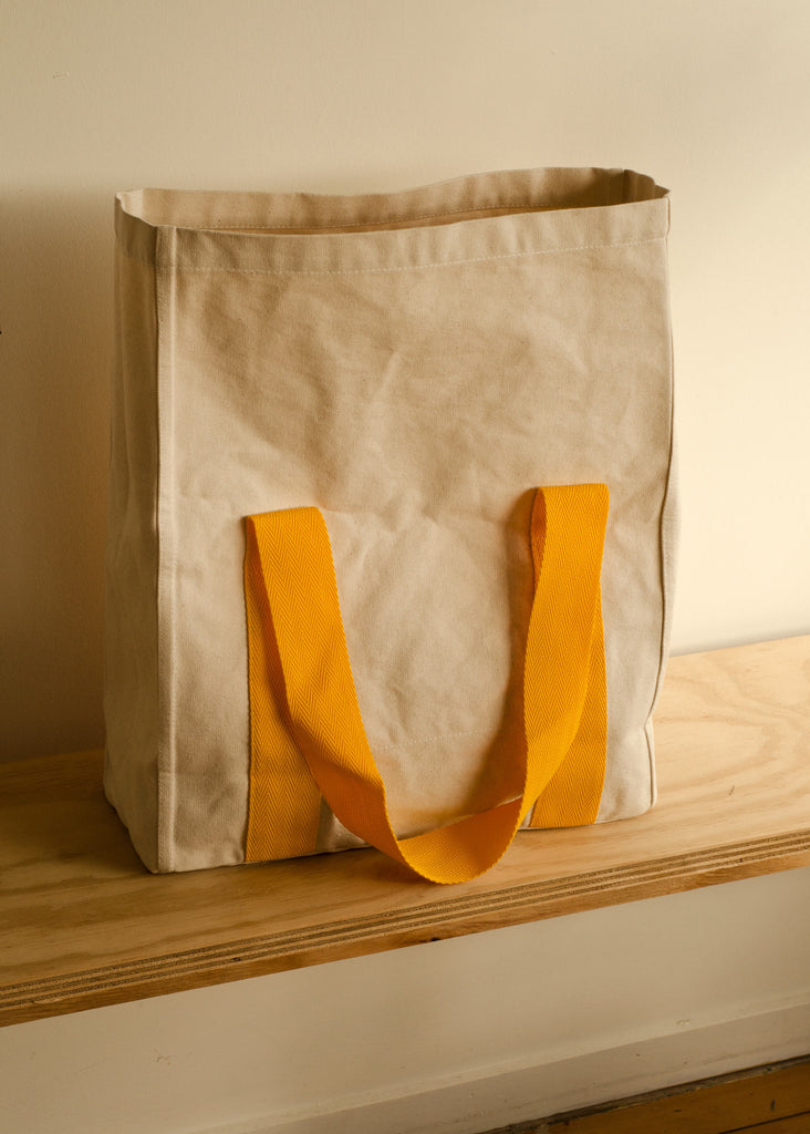 Klay Roll Down Canvas Bag - Unbleached with Yellow Straps
