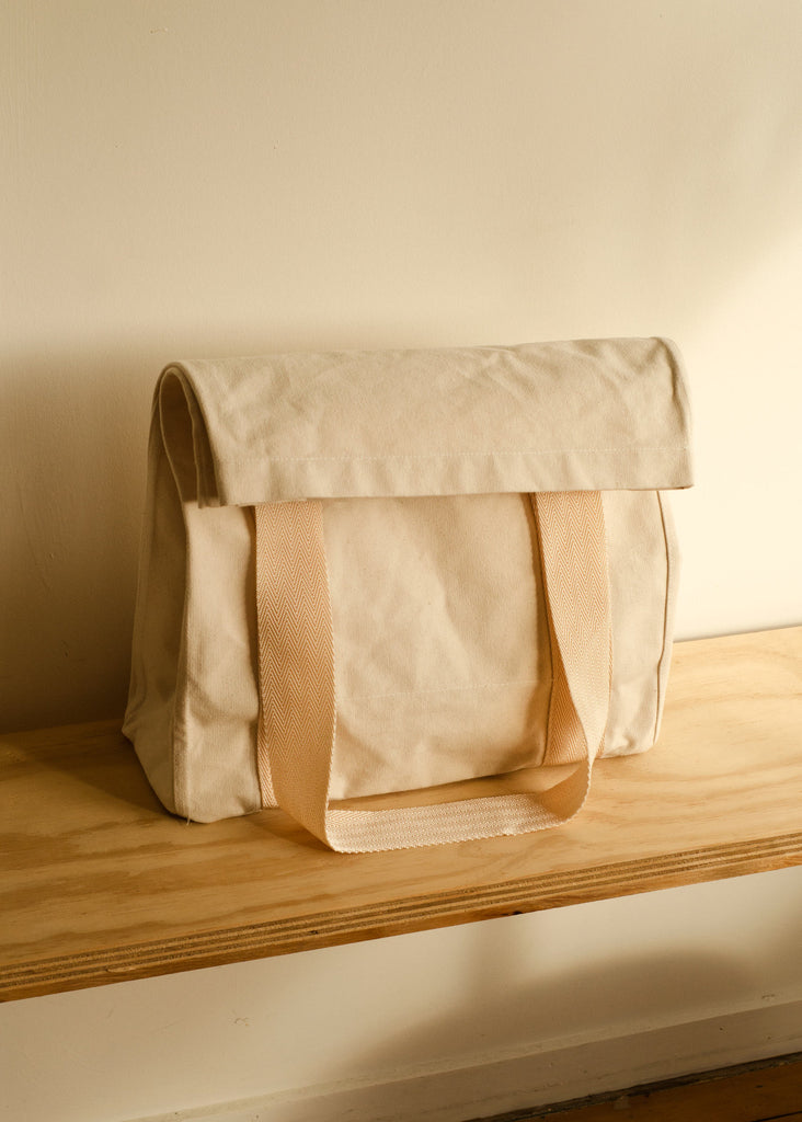 Klay Roll Down Canvas Bag - Unbleached with Blush Straps