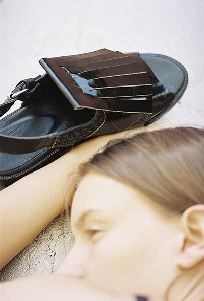Half Measures Fringe Sandal Black