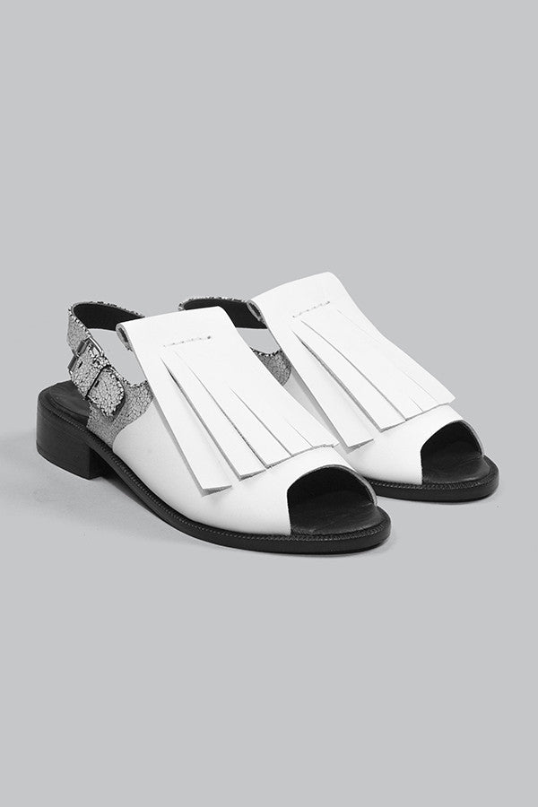 Half Measures Fringe Sandal White