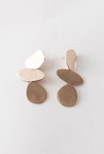Miki Nora Triple Puddle Earrings Bronze