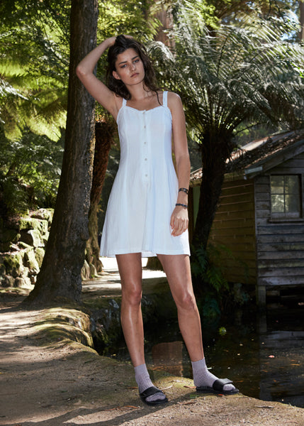 Permanent Vacation White Buttoned Sundress