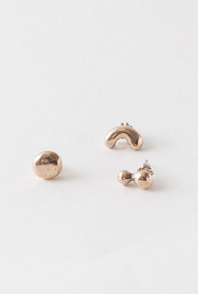 Miki Nora Three Little Bits Earrings Bronze