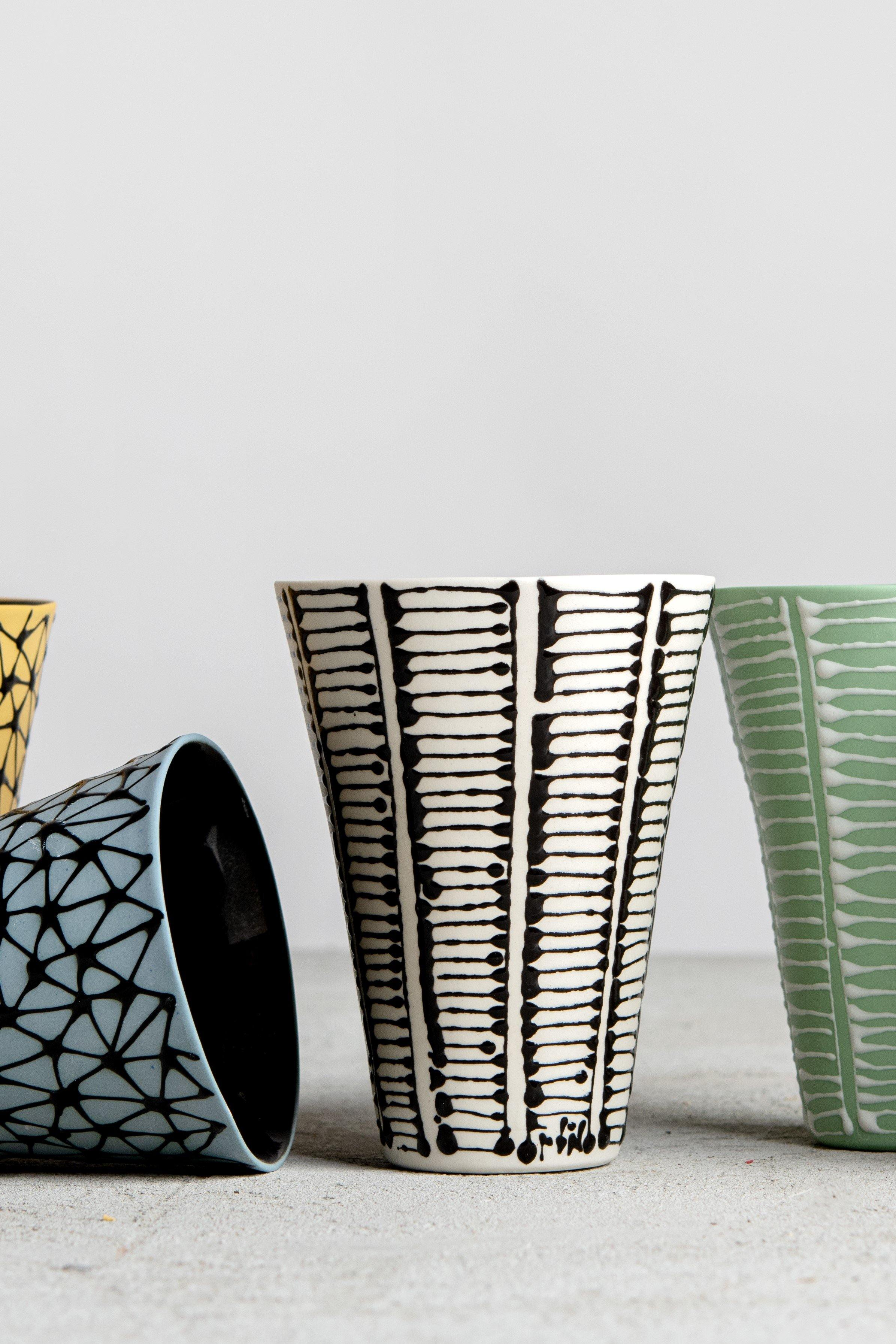 Set of 6 monochromatic B&W goblet cups - Maiyan Ben Yona - Ceramic Studio