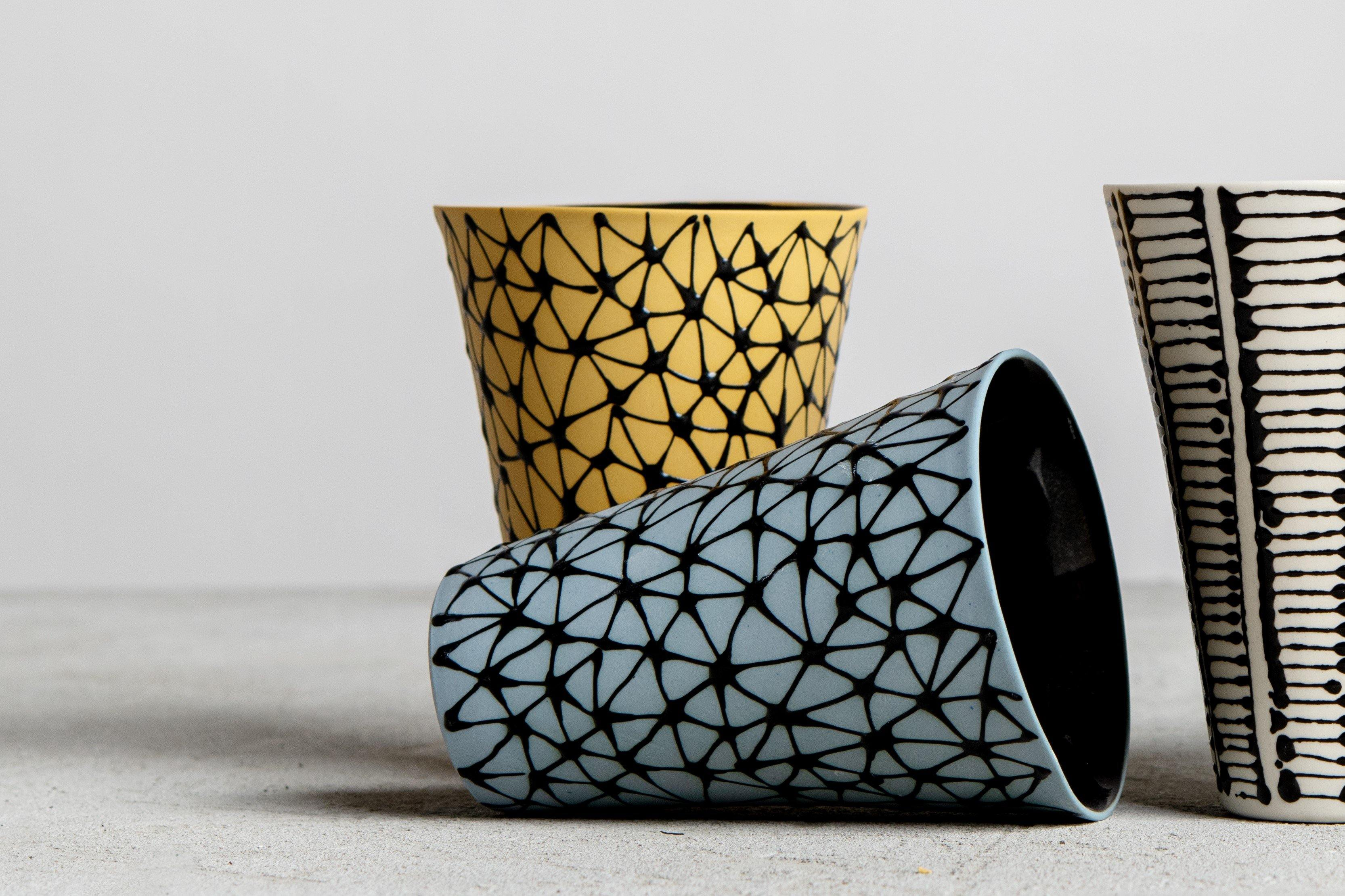 Porcelain goblet cup | Sky blue with black stars - Maiyanbenyona