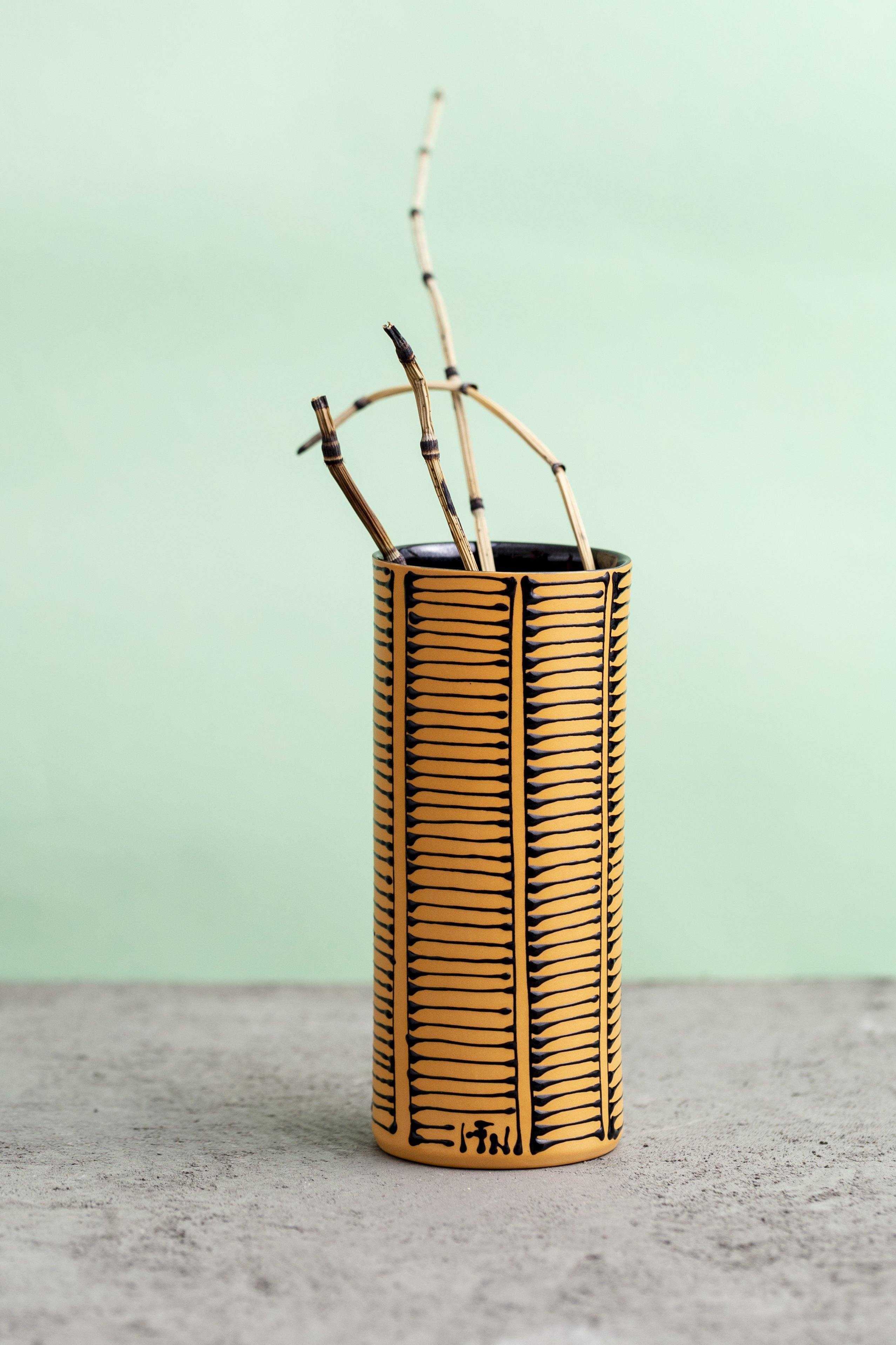 Small Cylinder shaped Vase | Orange with black ladder strips - Maiyan Ben Yona - Ceramic Studio
