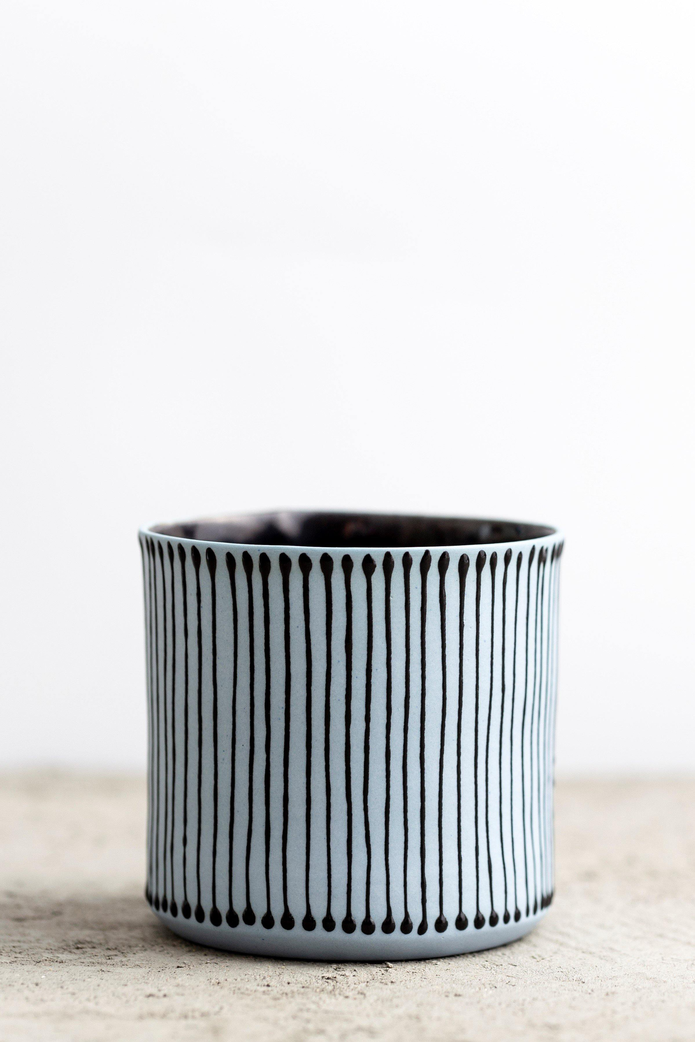 Negev coffee cup | Sky blue with black strips