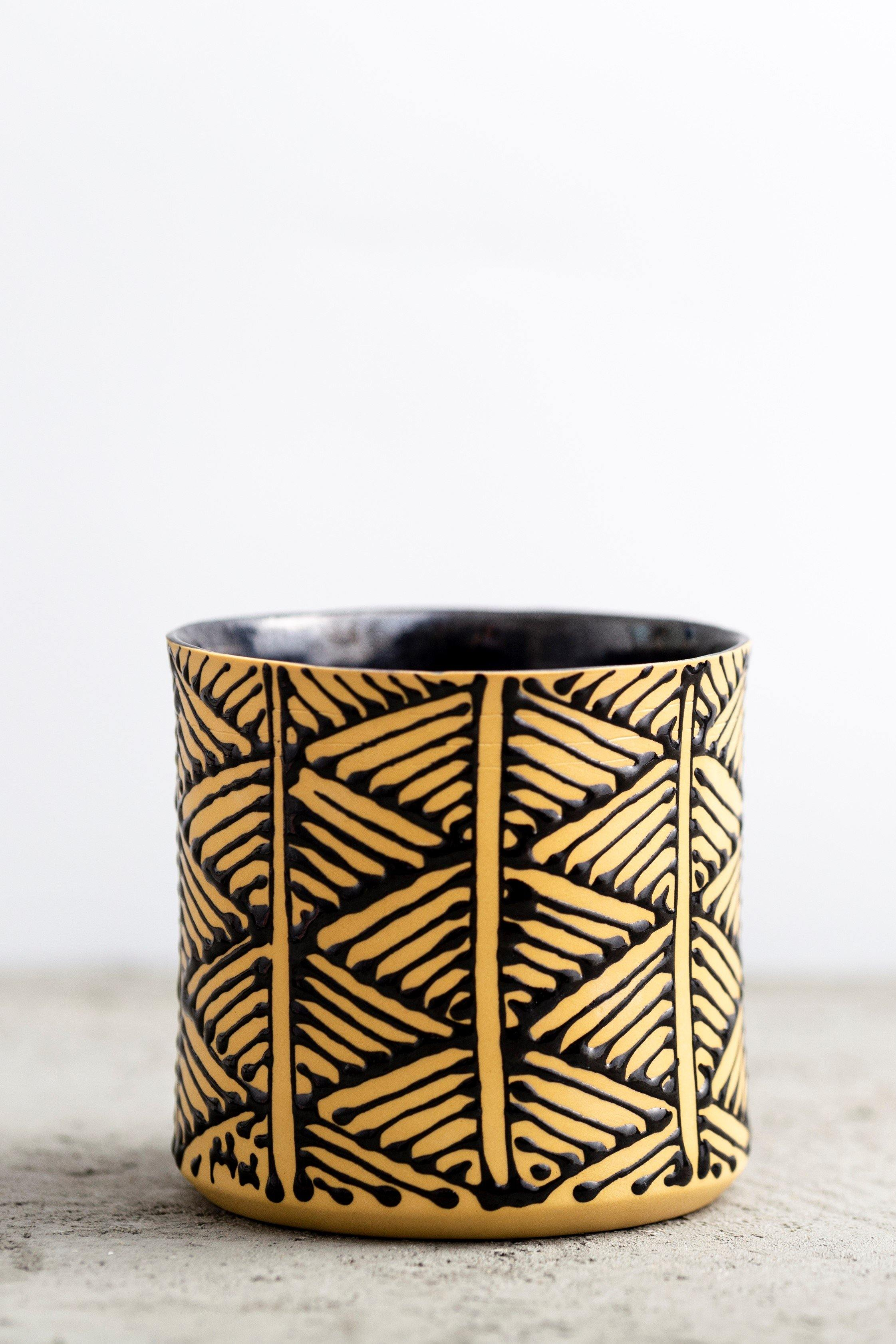 Negev coffee cup | Yellow with black triangles - Maiyan Ben Yona - Ceramic Studio