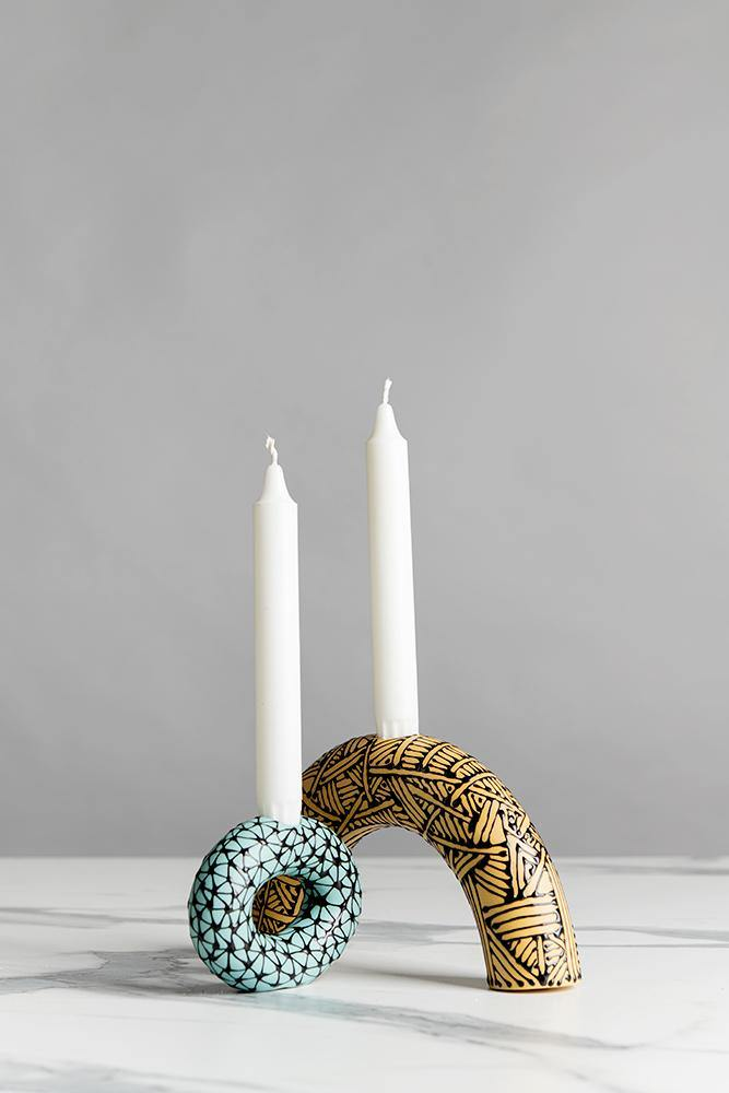 Set of 2 candle holders | Yellow & turquoise - Maiyan Ben Yona - Ceramic Studio