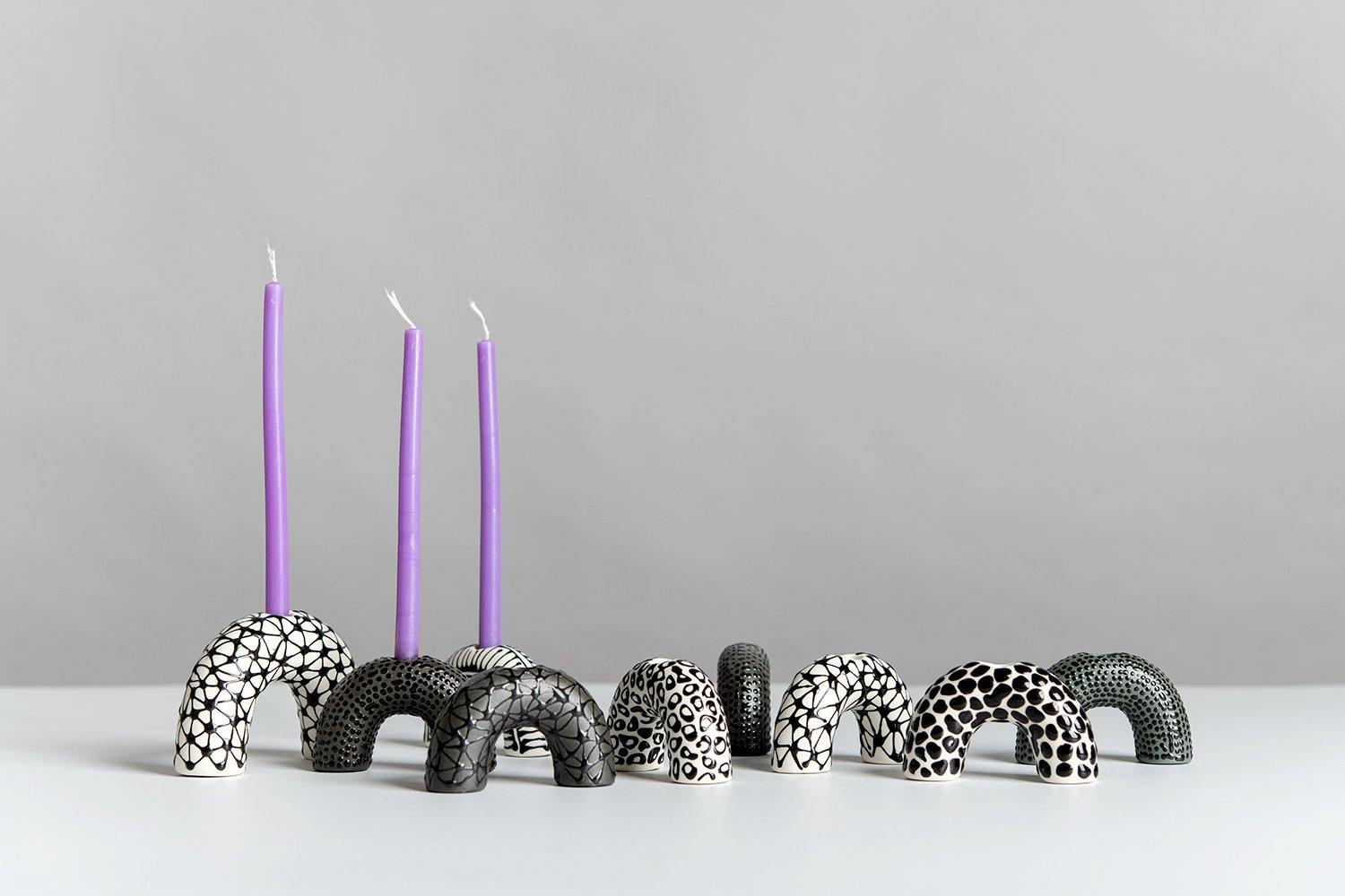 Menorah | Monochromatic Black and white - Maiyan Ben Yona - Ceramic Studio