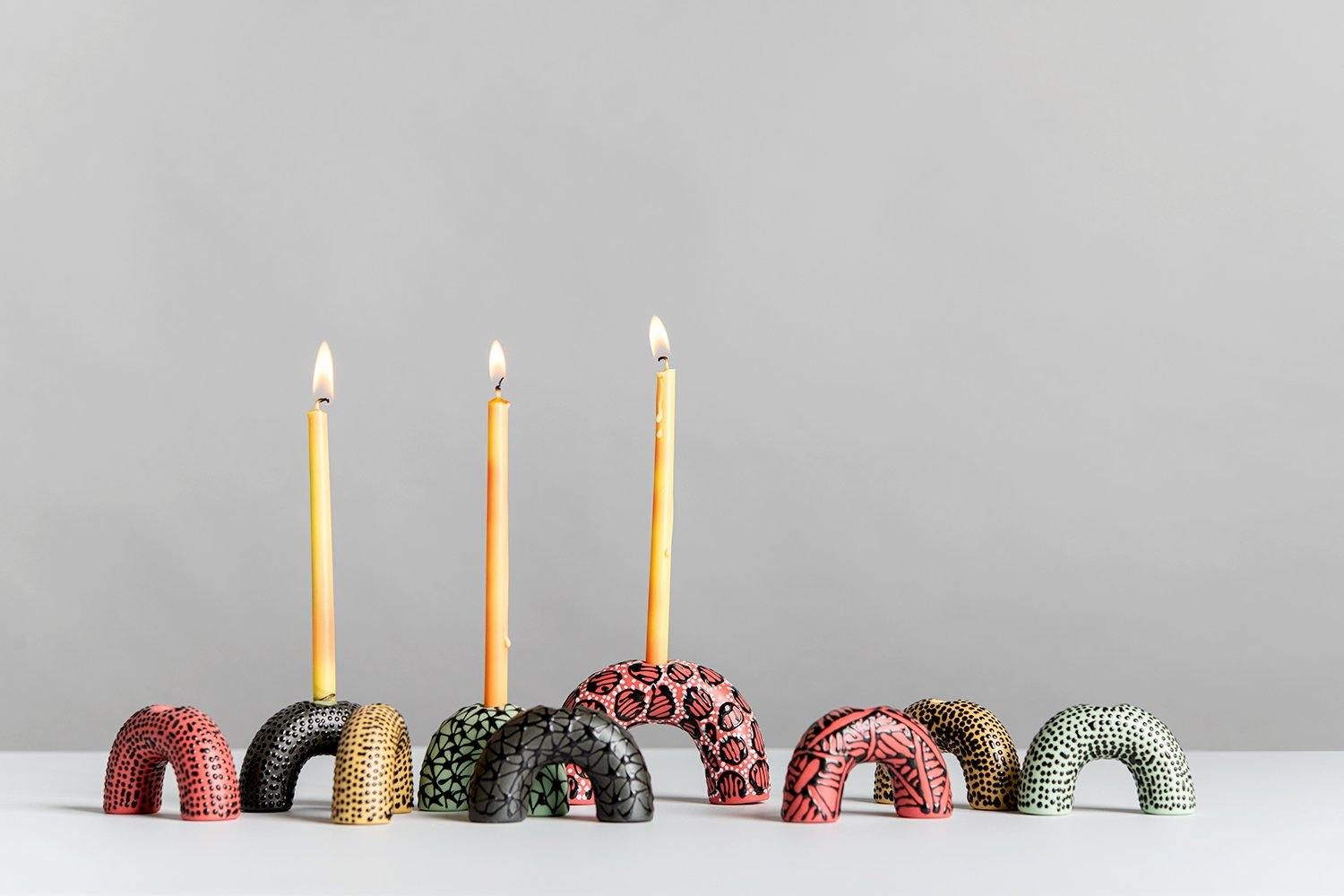 Menorah | Mix of Black, yellow, red and pistachio - Maiyan Ben Yona - Ceramic Studio