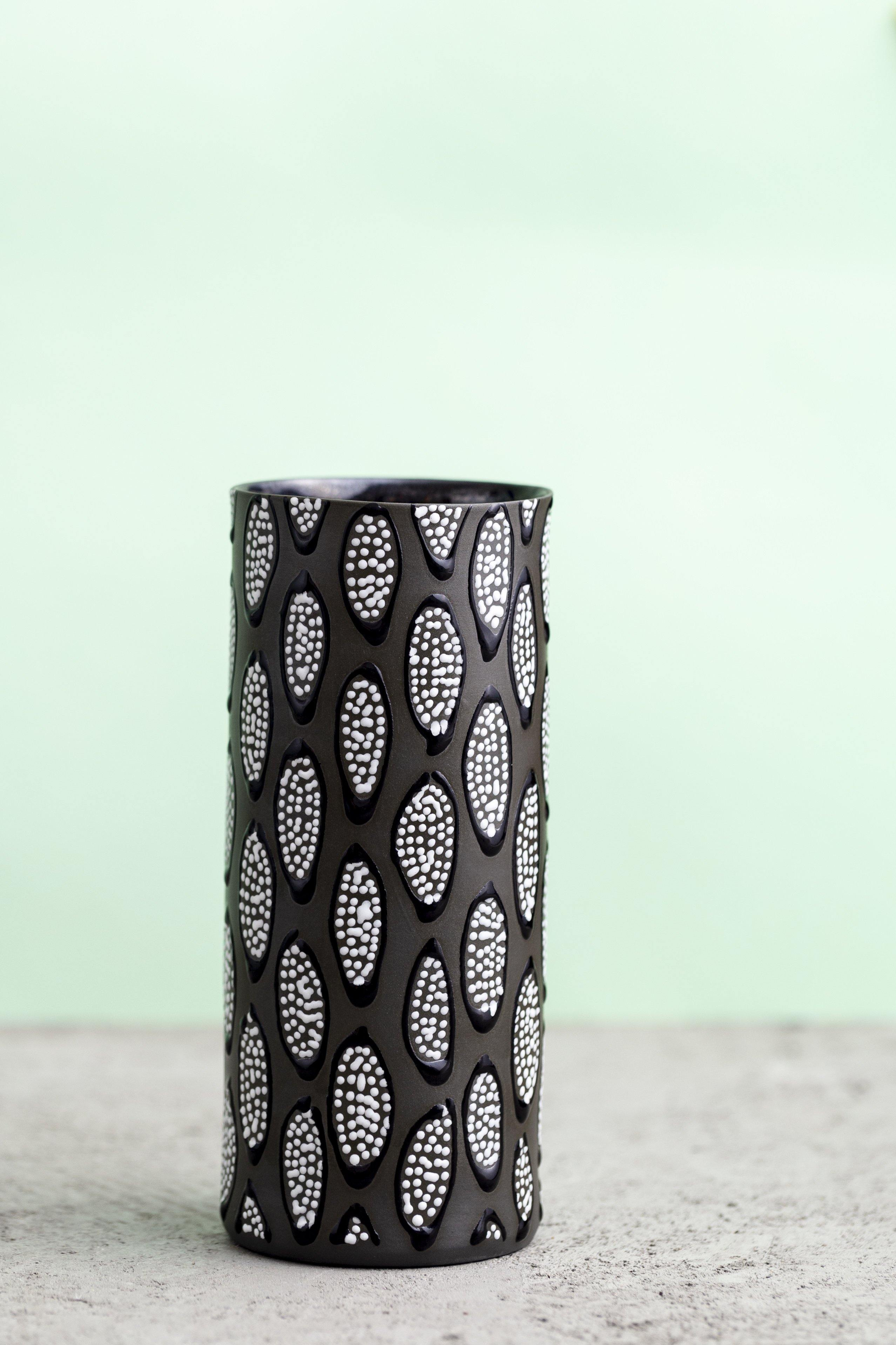 Small Cylinder shaped Vase |Black with B&W drops