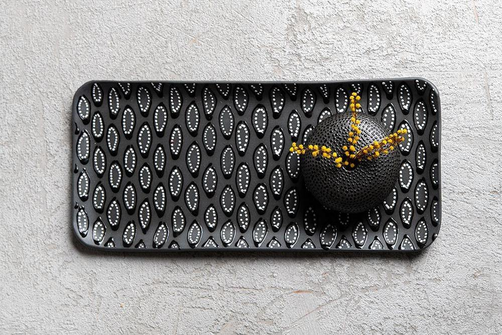 Set of 3 Rectangular trays | Black mix - Maiyan Ben Yona - Ceramic Studio