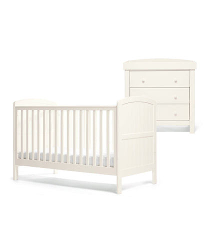 Mamas & Papas Furniture Sets Dover 2 Piece Cot Bed Set with Dresser - White